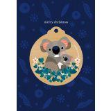 Koala & Baby Wooden Decoration Greeting Card